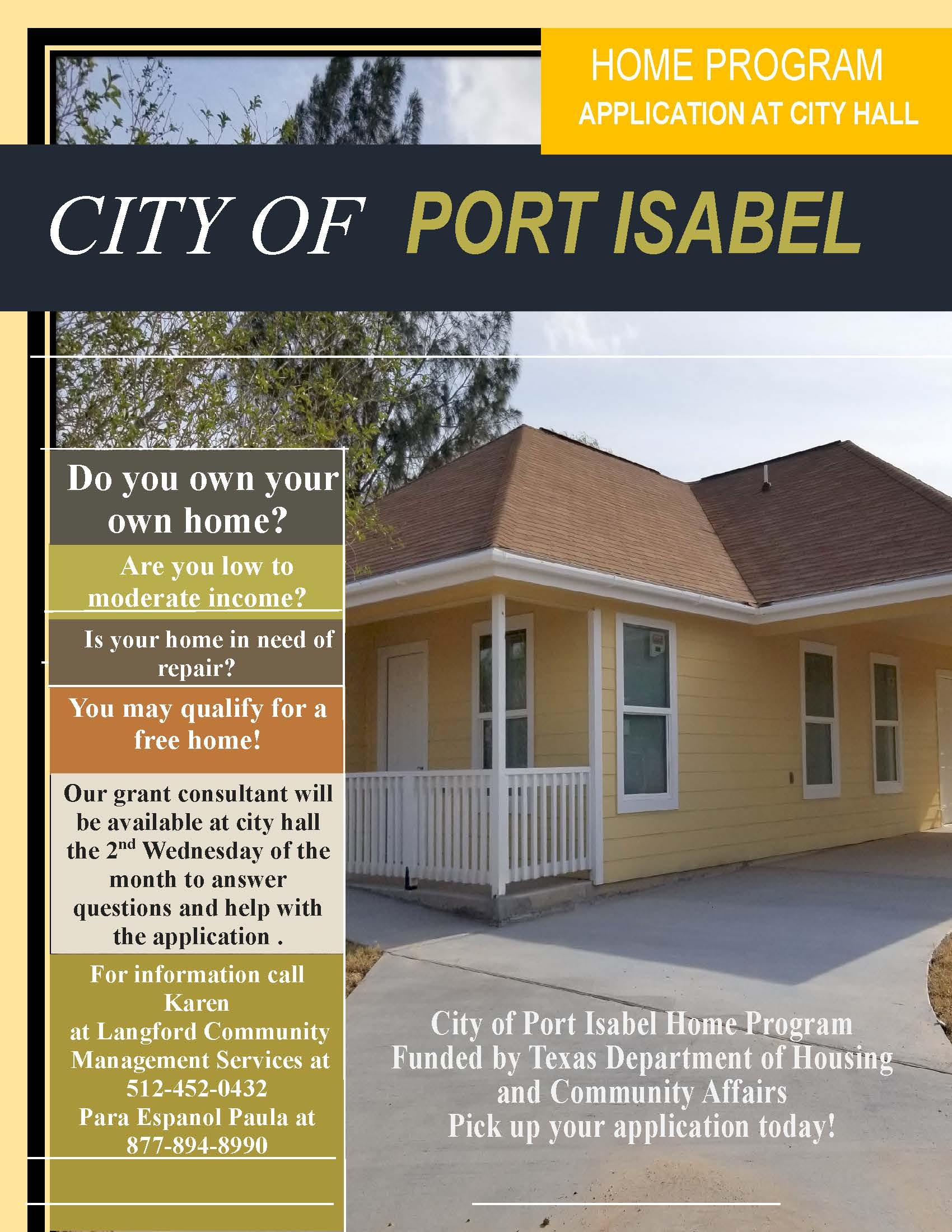 Port Isabel HOME Program Flyer