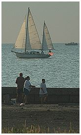 People Watching Sailboat